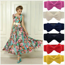 2016 Fashion Women Bowknot Elastic Bow Wide Stretch Buckle Waistband Waist Belt