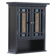 Elegant Home Windsor Espresso Bathroom Wall Cabinet with 2 Doors and 1 Shelf