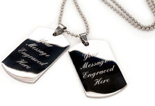 Double dog tag pendant chain for men, Custom Engraved + christmas gift pouch