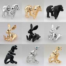 1PC Cool Punk 3D Animal Pierced Stud Earrings Crystal Ear Cuff Party Jewelry NEW