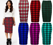 Ladies Tartan Print Red/White/Black Bodycon Midi Pencil Skirt All Sizes