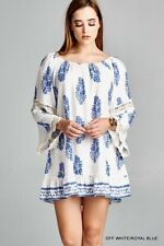 Jodifl White Blue Floral BOHO Chic Tunic  Bell Lace Sleeves S M L