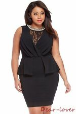 New Plus Size Women Sexy Sleeveless Back Sheer Lace Ruched Cocktail Peplum Dress