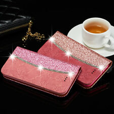 Luxury Bling Diamond Flower Magnetic Flip Stand Case Cover For iPhone & Samsung