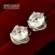 3 Color Charm 10MM Round Crystal Earrings Women Flower Earring 18K Gold Plated