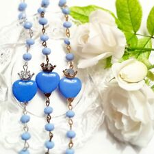 Blue glass Sacred heart tattoo Rosary bracelet Silver Gold or Antique bronze