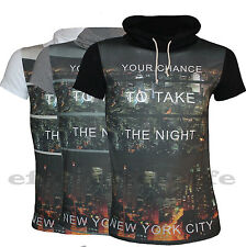 Jersey men'S t-shirt Neck SHAWL COLLAR Print NEW YORK SIZE S M L XL