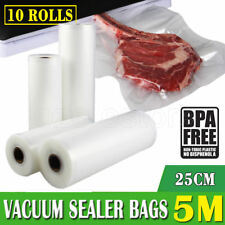 10 X VACUUM FOOD SEALER ROLLS SAVER SEAL BAG STORAGE COMMERCIAL HEAT GRADE 25CM
