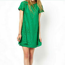 Women Short Sleeve Loose Lace Hollow Out Casual Tops Skirt Dress Size S~4XL WKAU