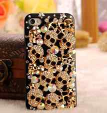 For Mobile Phone Sparkly Metal Gold Skull Crystals Diamond Bling Hard Cover Case
