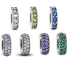 CRYSTAL Pave Inspiration Spacer 925 Sterling Silver European Charm Bead