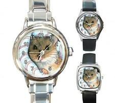 Italian Charm Metal Watch Round Square Hamster 10 art painting by L.Dumas