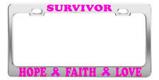SURVIVOR HOPE FAITH LOVE BREAST CANCER LICENSE PLATE FRAME CAR ACCESSORIES