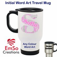 Personalised Word Art Thermal Travel Mug Cup - Initial Alphabet - Birthday Flask