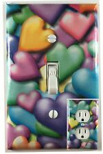 Colored Hearts Single Toggle Decorative Light Switch Cover Outlet Switch Plate