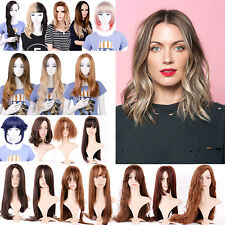 Queentas Side-parting Curly Straight Hair Wigs Ombre Hairpieces Synthetic Nature