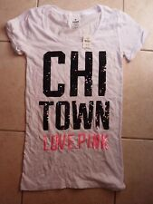 """VICTORIAS SECRET PINK BLING SEQUIN """"CHI TOWN"""" CUFFED SCOOPNECK TEESHIRT NWT"""