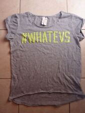 "VICTORIAS SECRET PINK BLING SEQUIN ""# WHATEVS"" CUFFED SCOOPNECK TEESHIRT NWT"