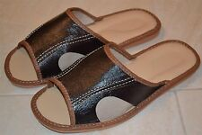 Mens Thick Sheep Skin Dark Brown Leather Slippers Sandal Shoes Handmade Poland