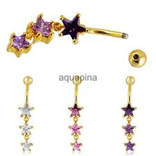 Star Crystal rhinestone Dangle Belly Button Bar Navel Ring Body Piercing Jewelry