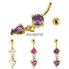 Fashion Belly Dangle Pendant Button Bar Navel Ring Body Piercing Heart Crystal
