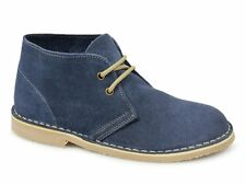 Roamers MACIE Ladies Breathable Suede Leather Lace Up Casual Desert Boots Blue