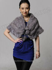 100% Real Knitted Mink Fur Stole Cape Scarf Shawl Wrap Evening Spring Wedding