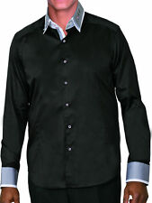 Mens 100% cotton dress shirt double layered collar,Italian Design Black/Gry A605