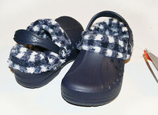 $30 Crocs Kids Plaid Blitzen Navy Blue Oatmeal C6/7 C8/9 C10/11 C12/13 J1 J2 J3