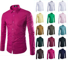New Stylish Mens Luxury Casual Dress Shirts Slim Fit Long Sleeve Business Shirts