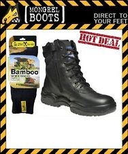 Mongrel Work Boots 251020 Black Steel Cap LU/ZU with 2 pairs of Bamboo Socks