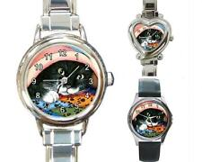 Italian Charm or Metal Watch Square Round Tuxedo Cat 286 art painting L.Dumas
