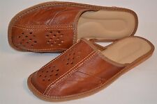 Mens Thick Leather Tan Slippers Sandal Shoes Handmade Kapcie Slip On Soft Sole