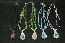 Adjustable Murano Glass Flower Necklace-- 5 Colors To Choose From