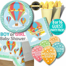 HOT AIR BALLOON GIRL BOY UNISEX  BABY SHOWER PARTY SUPPLIES PLATES CUPS NAPKINS