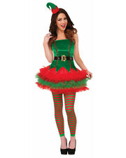 Womens Sexy Sassy Elf Green Red Tutu Dress Tu Tu Christmas Costume