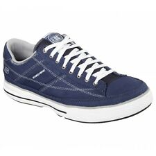 Skechers ARCADE CHAT MEMORY Mens Canvas Lace Up Casual Trainer Shoes Navy/White