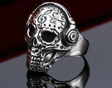 Skull Stainless Steel Men S Biker 316l Punk Silver Gothic Size Cool Jewelry Ring