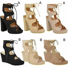New Womens Ladies Block High Heels Lace Up Wedge Sandals Ankle Hi Platforms Size