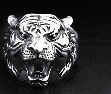 Tiger Ring Stainless Steel Men S Biker 316l Punk Silver Gothic Size Cool Jewelry