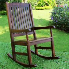 International Caravan Traditional Stained Acacia Wood Slat Rocking Chair