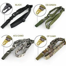 Tactical One Single Point Sling Bungee Rifle Gun Strap Snap Quick Release Buckle