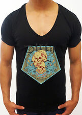 MENS BLACK DEEP V NECK T-SHIRT DIRTY UNION FASHION MUSCLE TOP GEORDIE SHORE