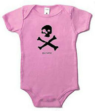 Pirate. Ghost Skull and Bones Pirate Baby Infant One Piece Pink 3-24 Sleeper