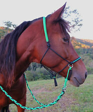 Bitless bridle/adjustable sidepull riding halter Black/GREEN,mini/pony/cob/full!
