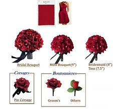 18pc set:Apple Red Bouquet&Boutonniere corsage wedding flowers.PICK RIBBON COLOR