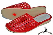 Ladies Natural leather Net Red Made In Poland Women's House Slipper Sandal Mule