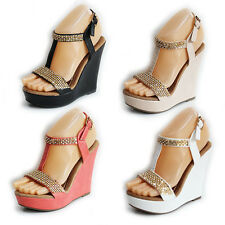 NEW WOMENS LADIES STRAPPY PLATFORM T-BAR WEDGE HEEL SANDALS SHOES SIZE 3-8