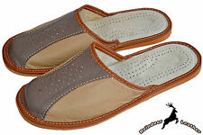 Men's Classic Real Cowhide Leather Comfortable Slippers Sandals Slip On Mule