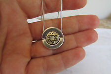 Gold Star of David Necklace Judaica Pendant Sterling Silver Jewelry and Chain
